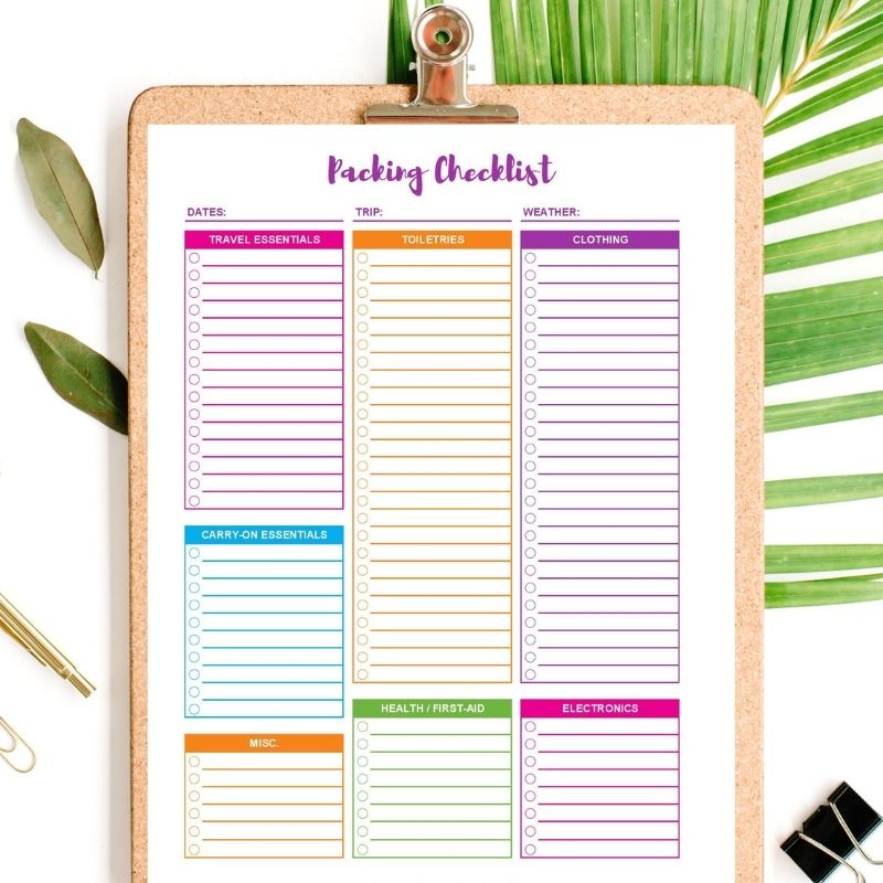 vacation packing checklist printable