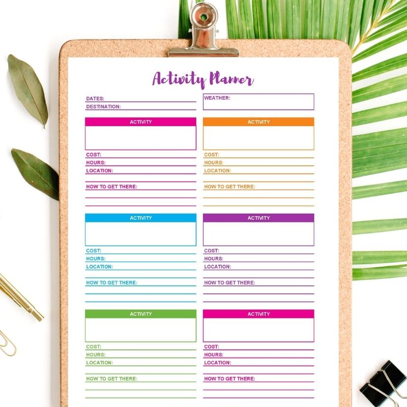 vacation activity planner printable