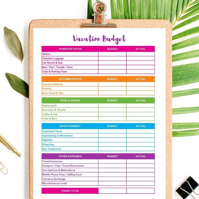 vacation budget printable