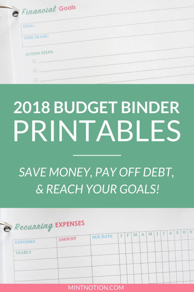 2018 Budget Binder Printables Organize Your Finances This Year