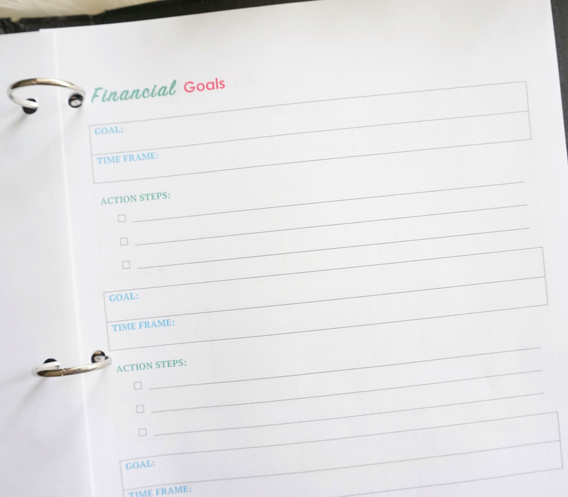Financial Goals: 2018 Budget Binder Printables