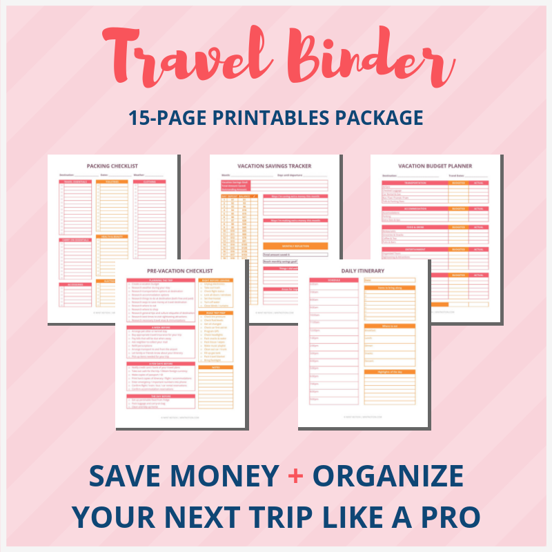 Mint Notion Travel Binder printables