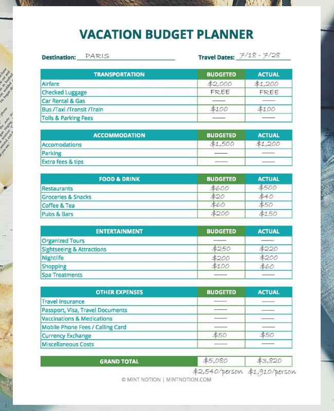 Mint Notion - Travel Binder Printables
