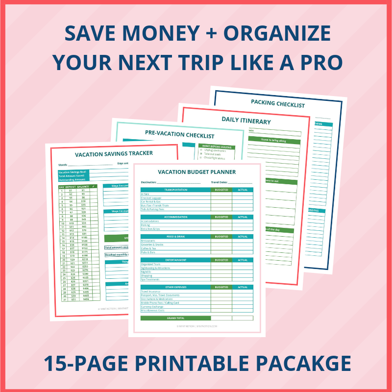 Mint Notion - Travel Binder Printables