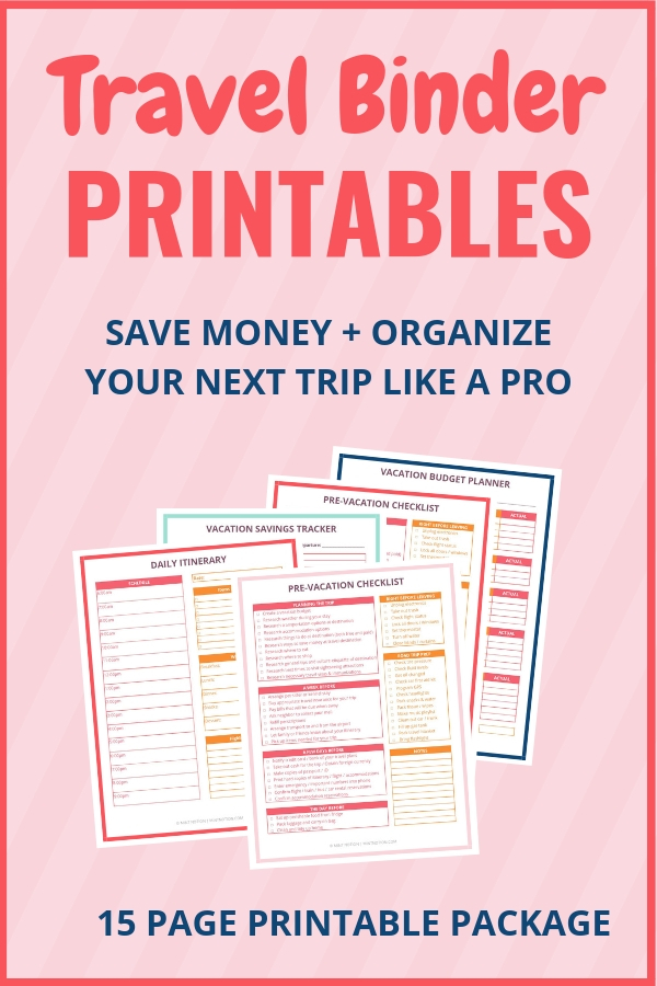 Travel Binder Printables