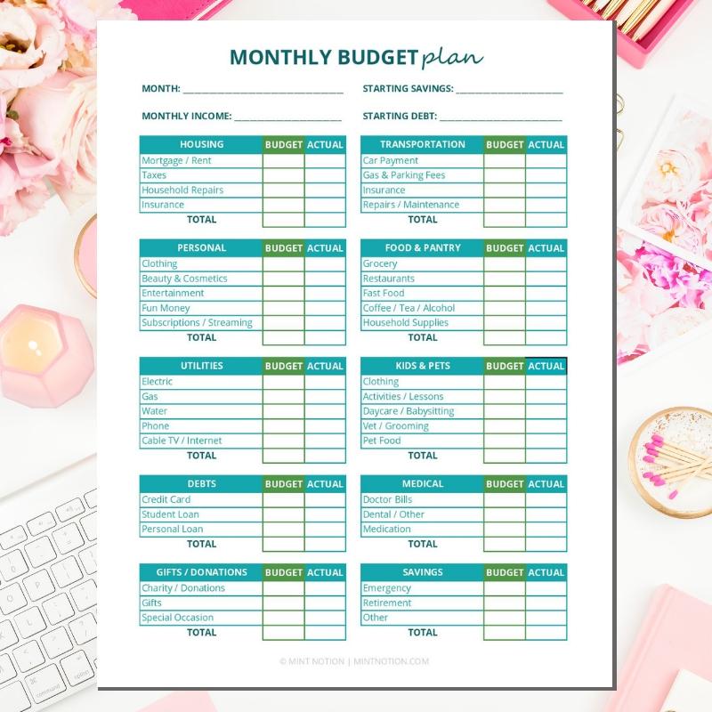 Budget Binder Printables - Monthly Budget Plan