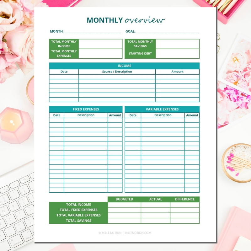 graphic regarding Printable Monthly Budget identify 2019 Funds Binder Printables - Mint Concept