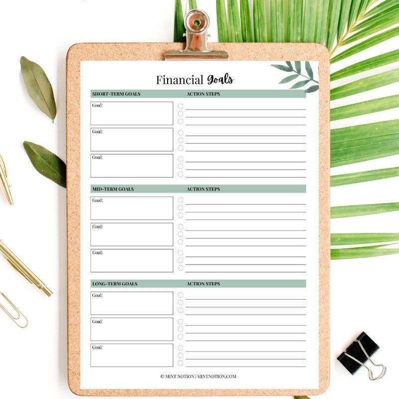 financial goals printable - mint notion