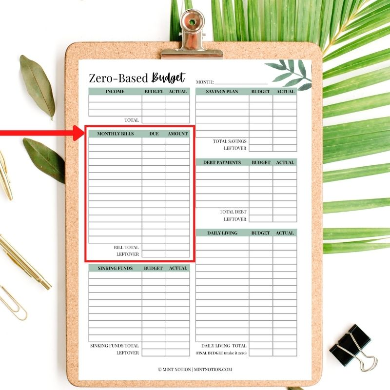 monthly budget printable - mint notion