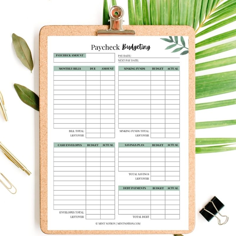 paycheck budgeting printable - mint notion