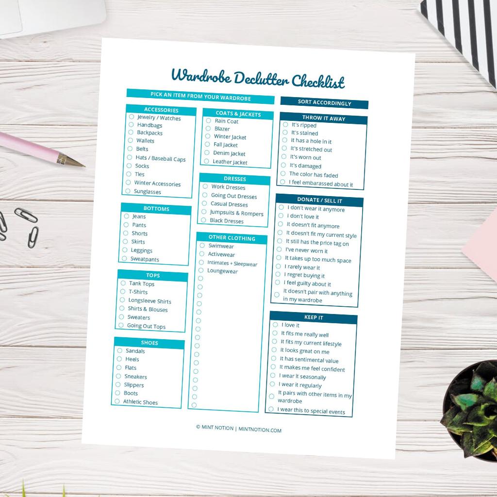 wardrobe declutter checklist printable