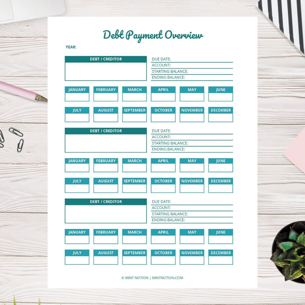 debt payment tracker printable