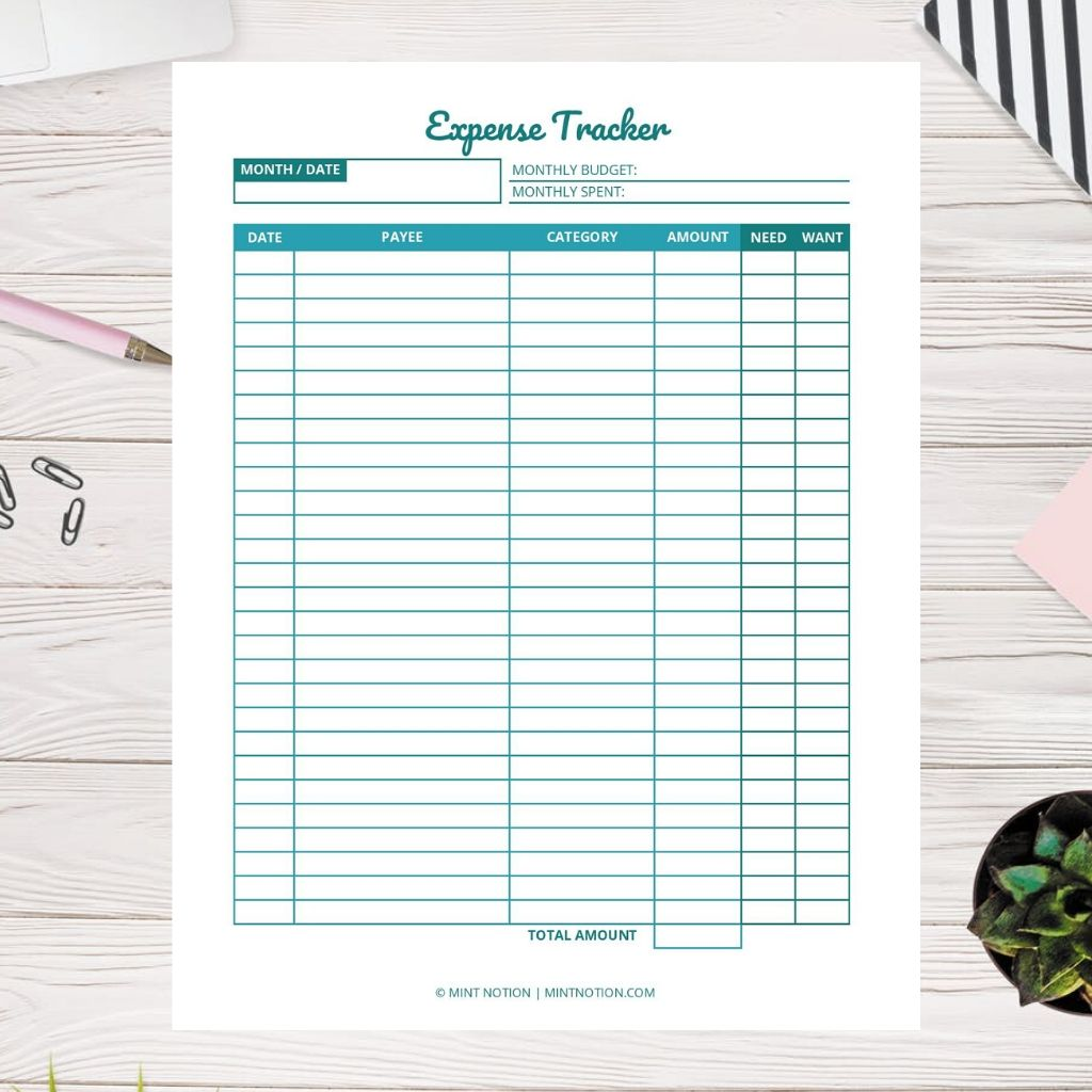 monthly expense tracker printable