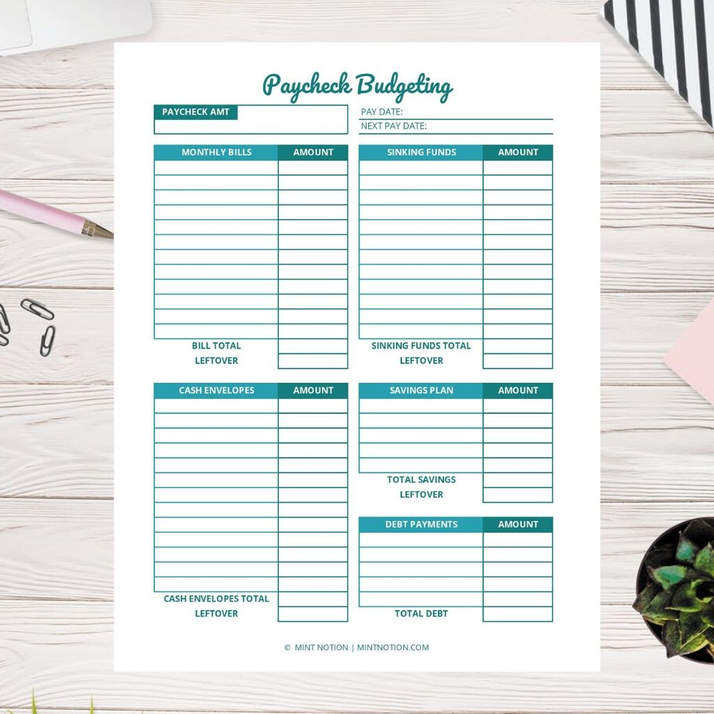 paycheck budgeting worksheet