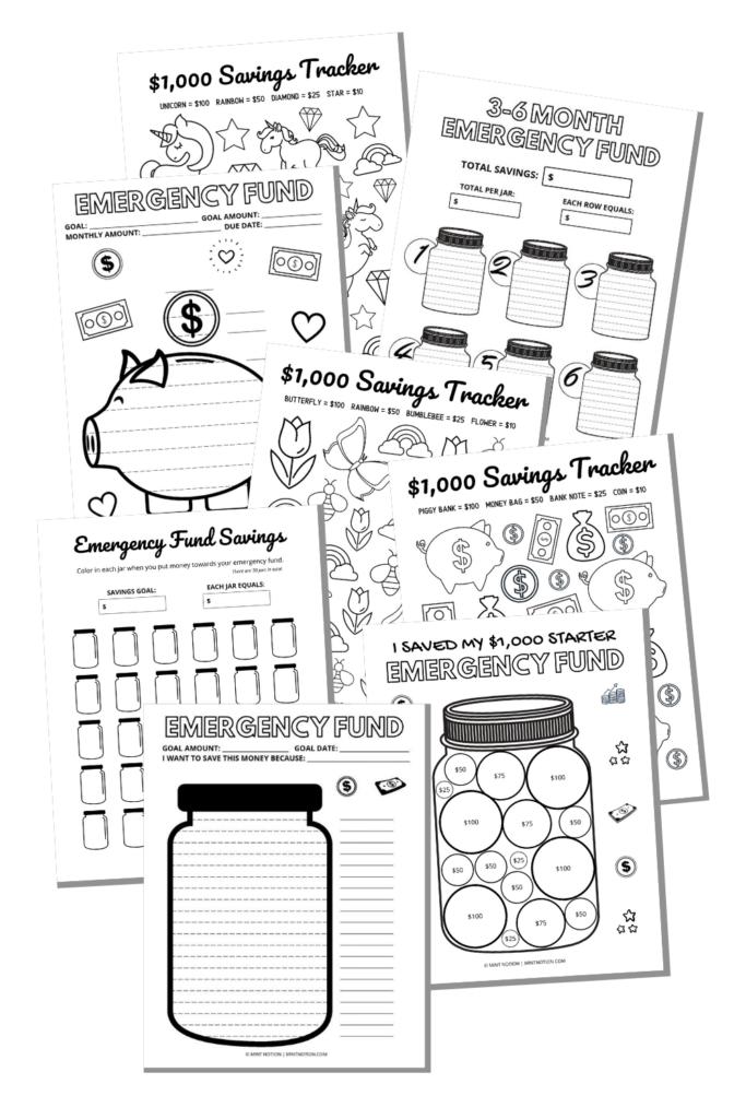 emergency fund tracker printable