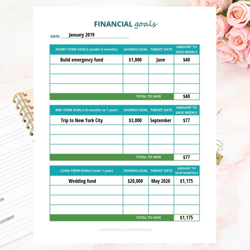 Financial goals printable