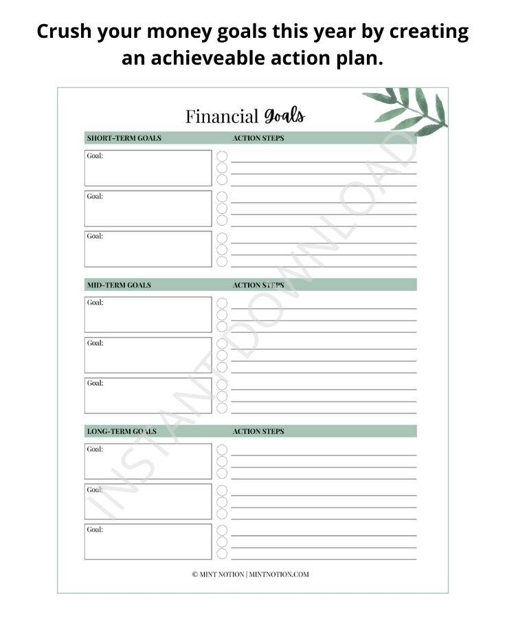 money goals printable