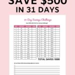 31 day money challenge: save $500