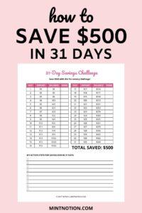 31 day money challenge: save $500