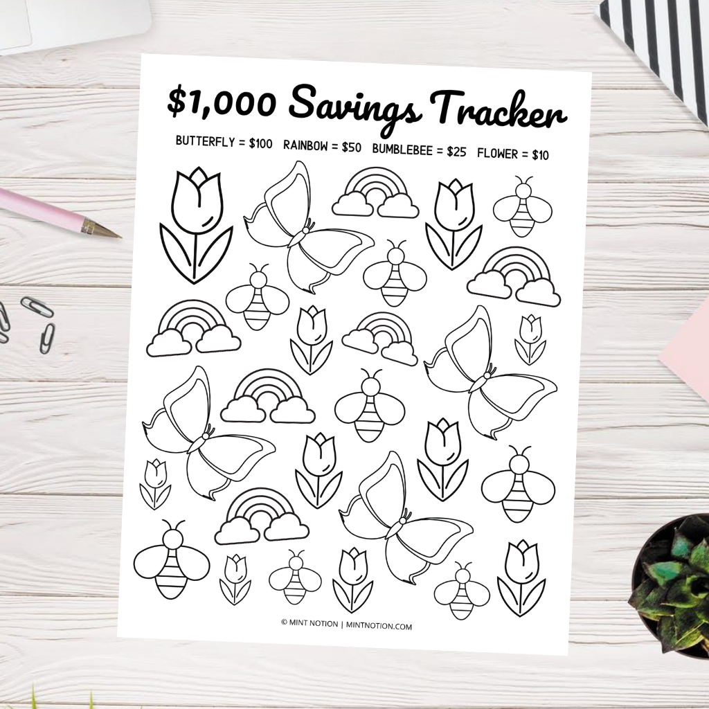 $1,000 savings coloring pages printable