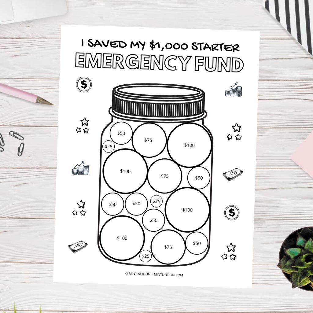 starter emergency fund savings tracker