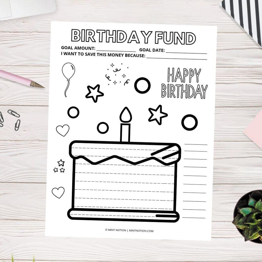 birthday sinking fund printable