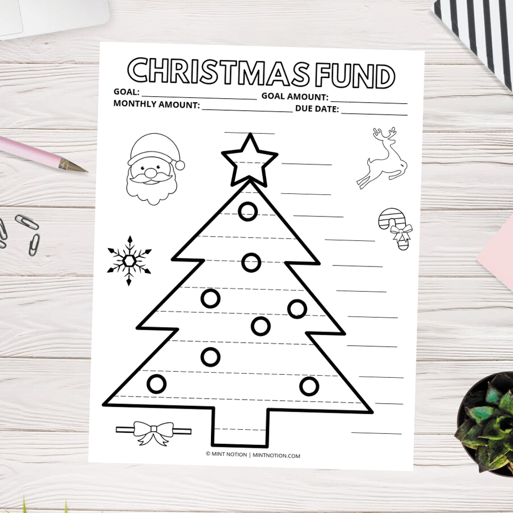 Christmas sinking funds tracker