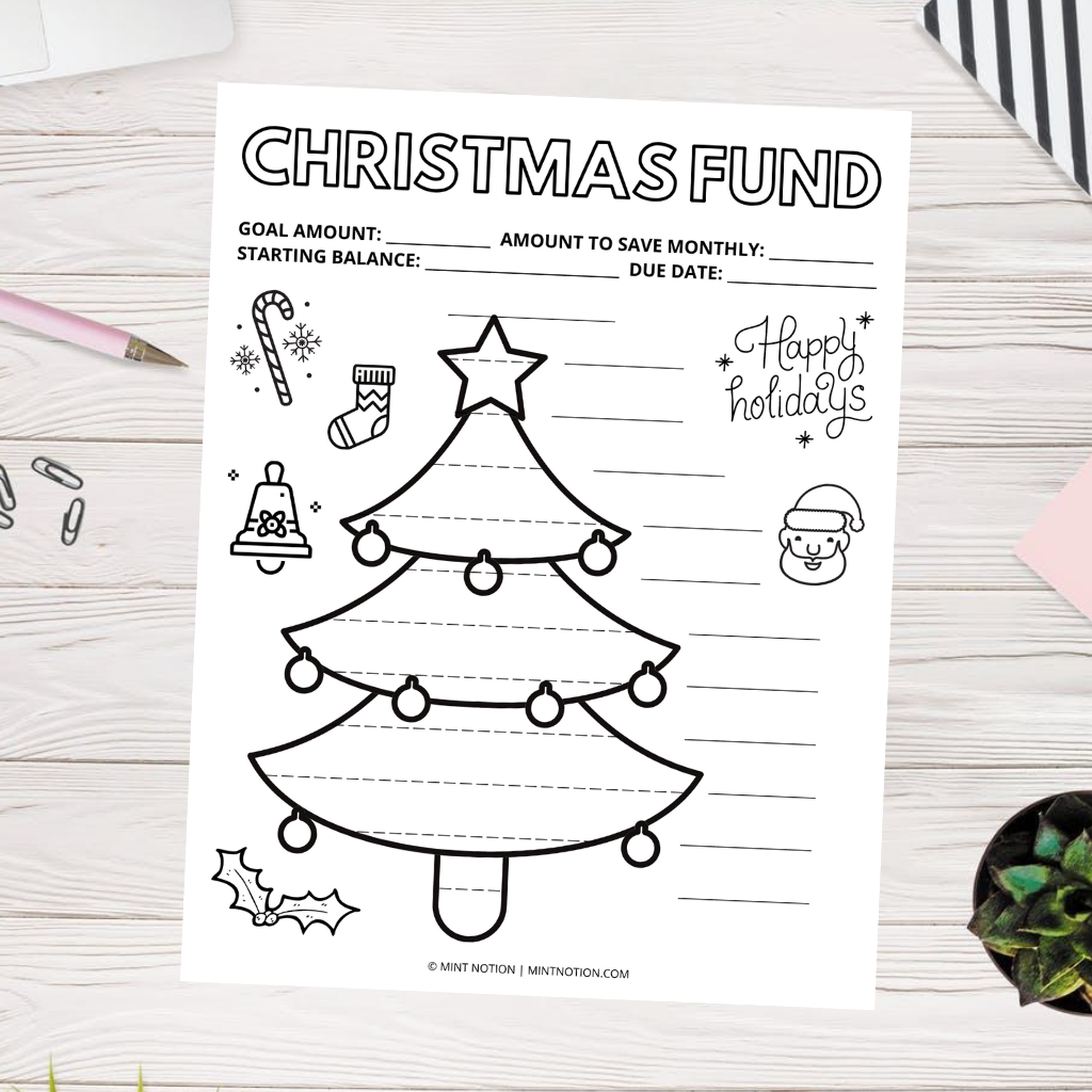 christmas savings tracker printable
