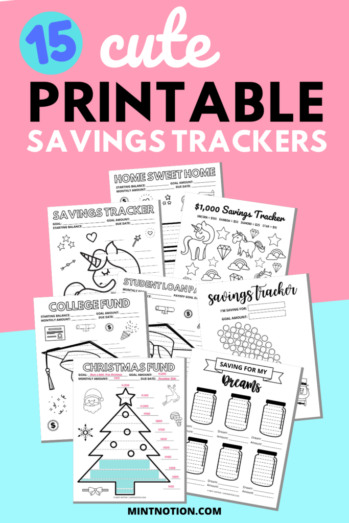 printable savings trackers to visualize your goals