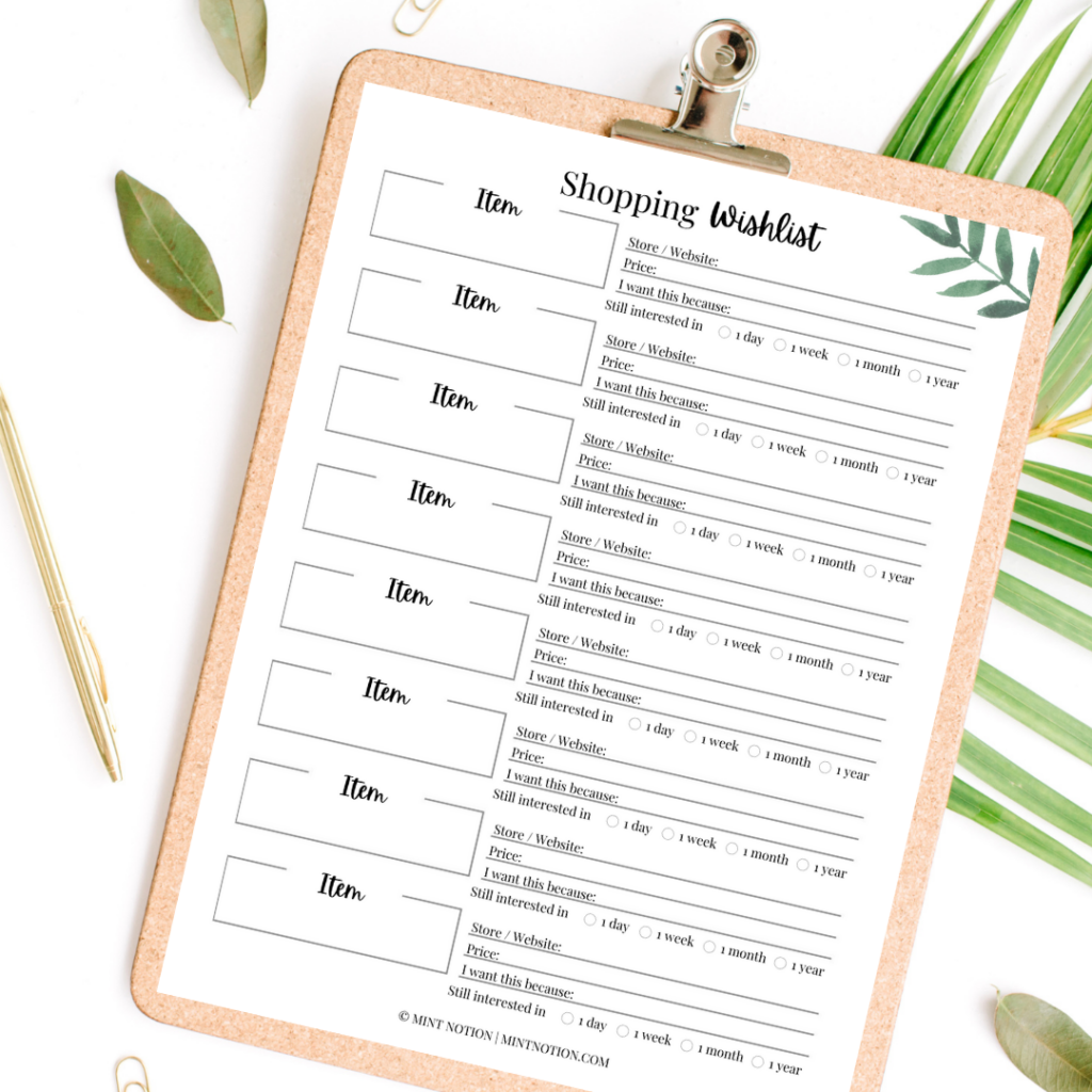 mint notion - shopping wish list printable