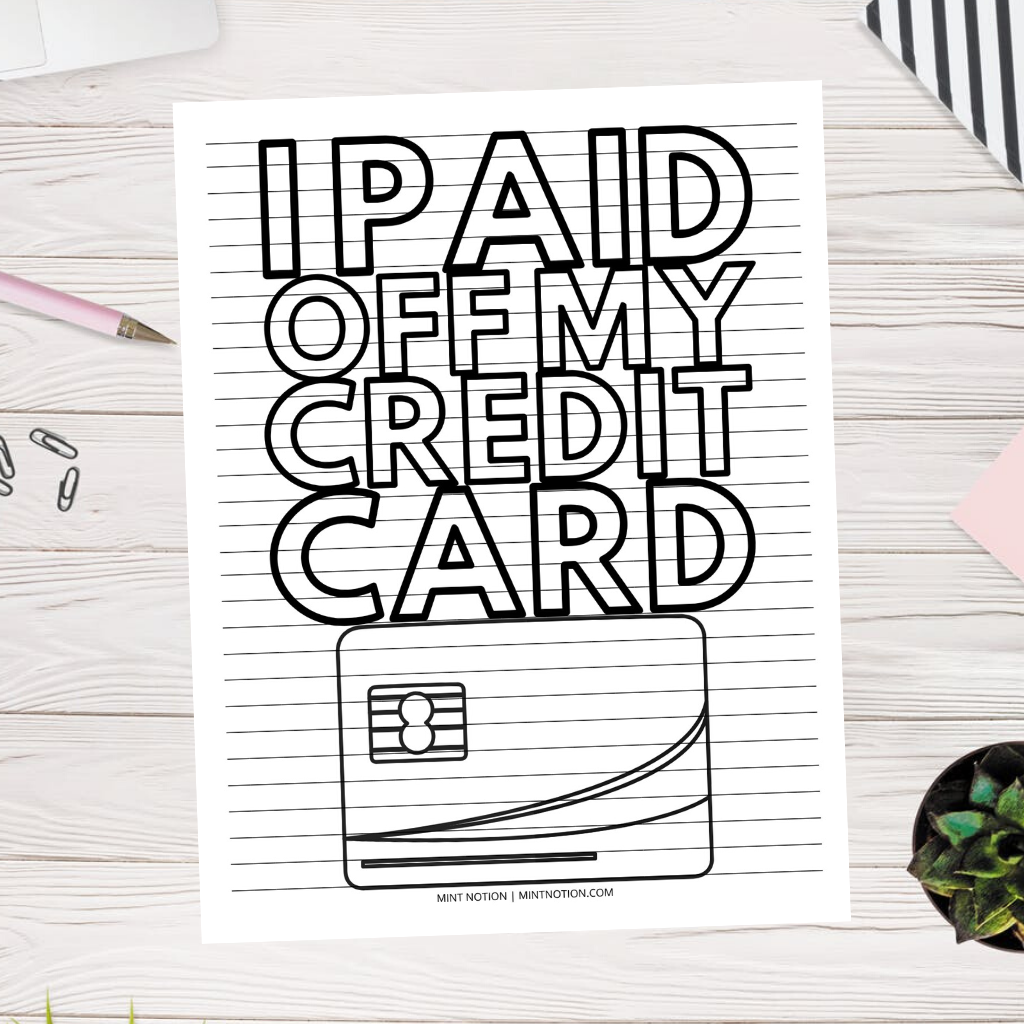 credit card debt payoff coloring page