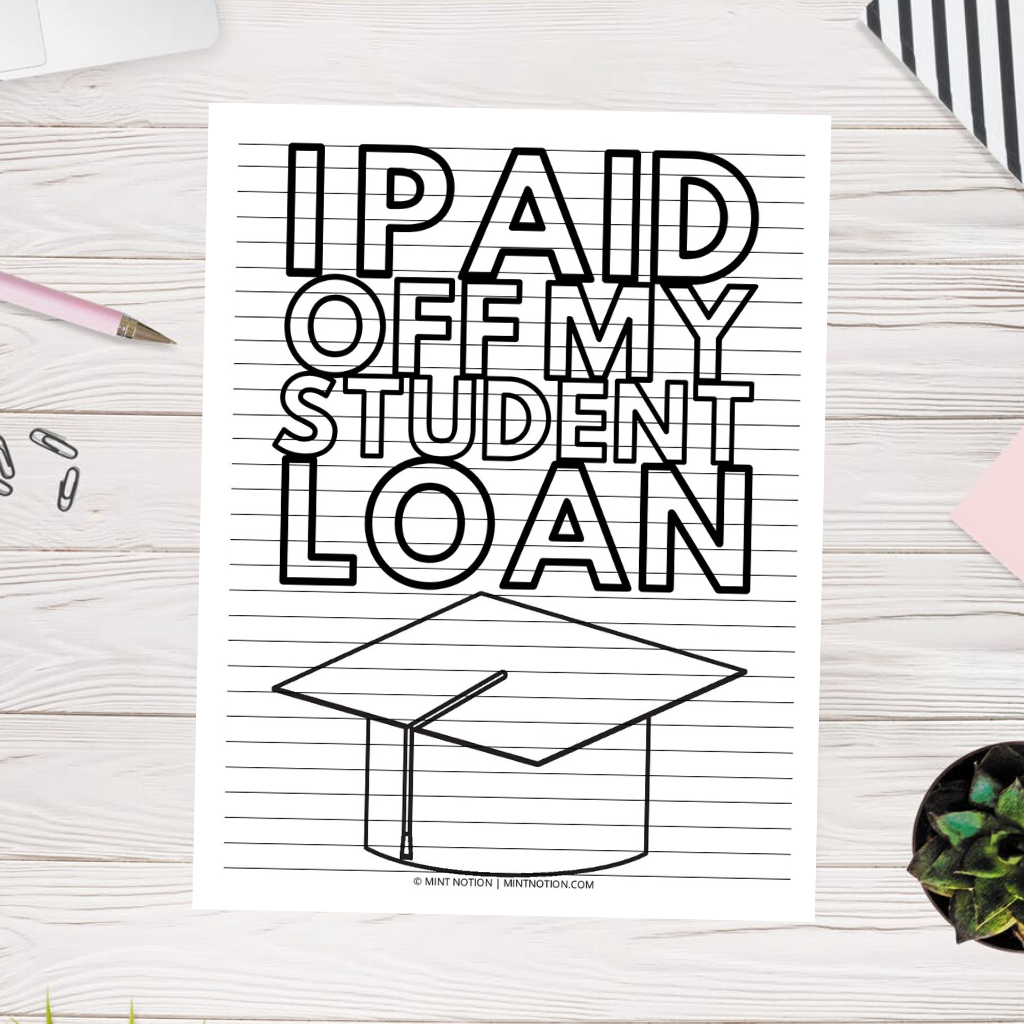 student loan debt payoff coloring page