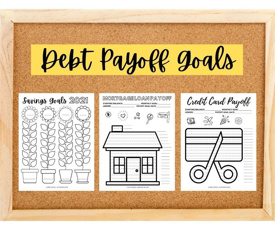 saving and debt payoff coloring sheets