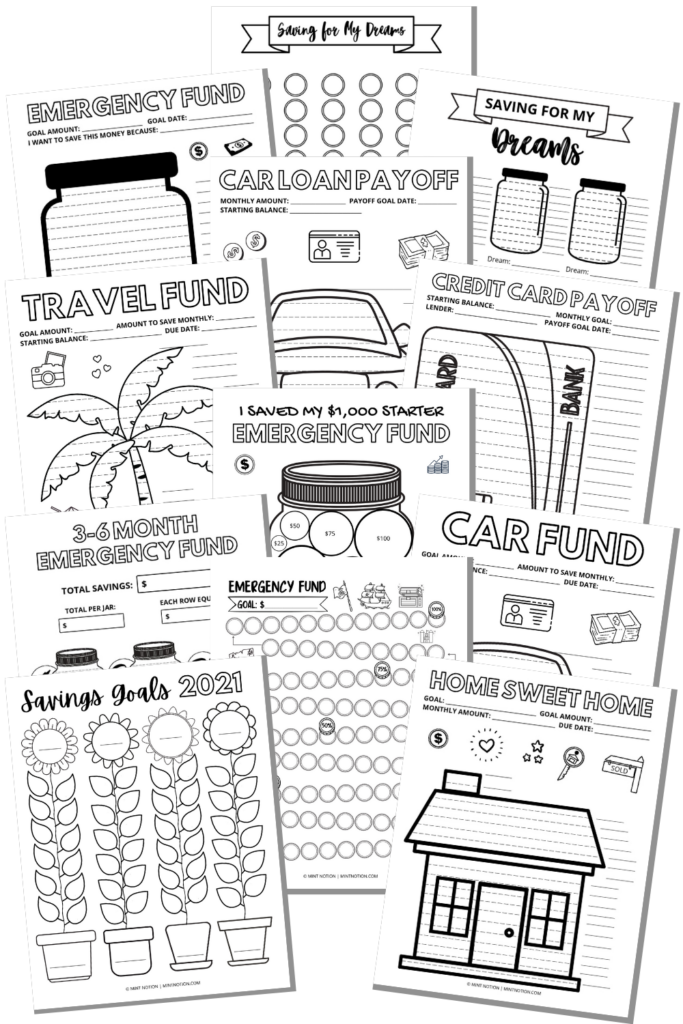 savings trackers and debt payoff coloring pages