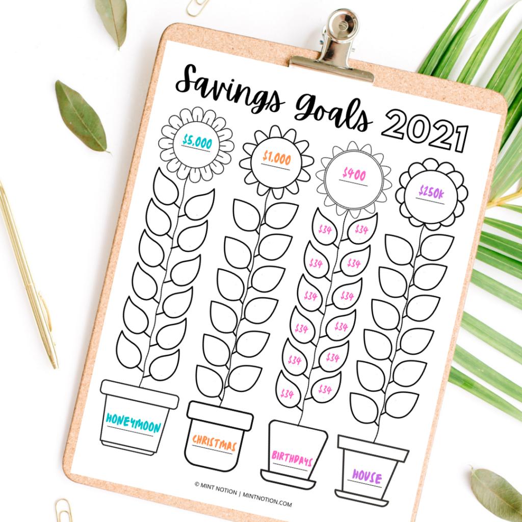 sunflower savings goals tracker