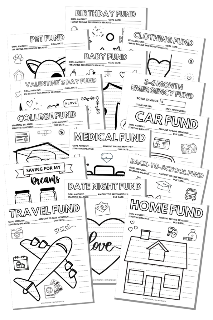sinking funds tracker printables
