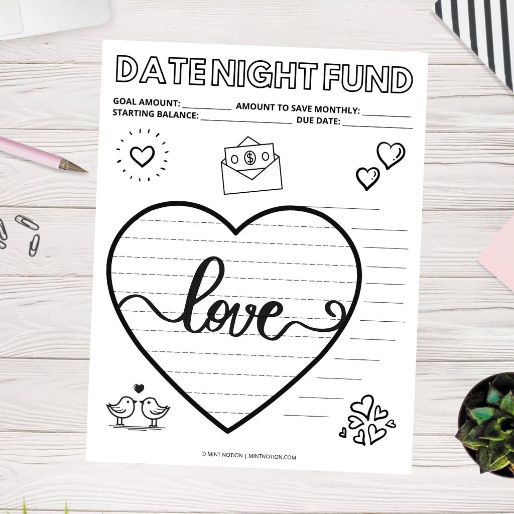 date night savings tracker printable
