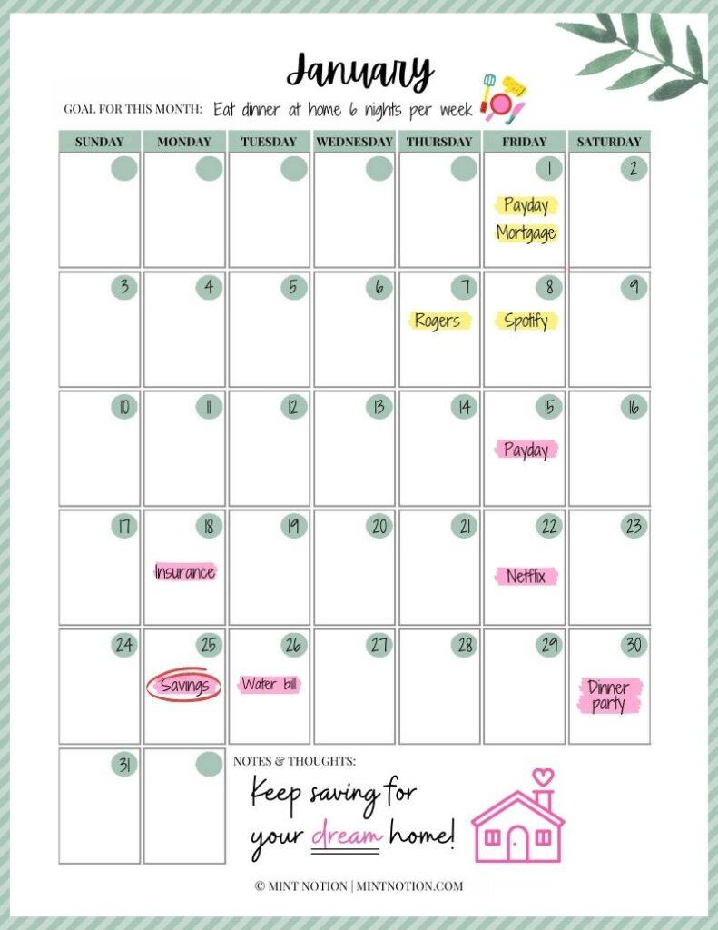 What Is A Budget Calendar