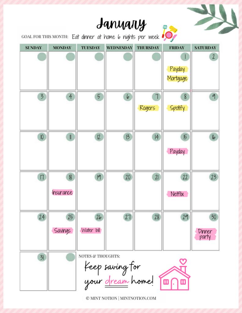 how to make a budget calendar