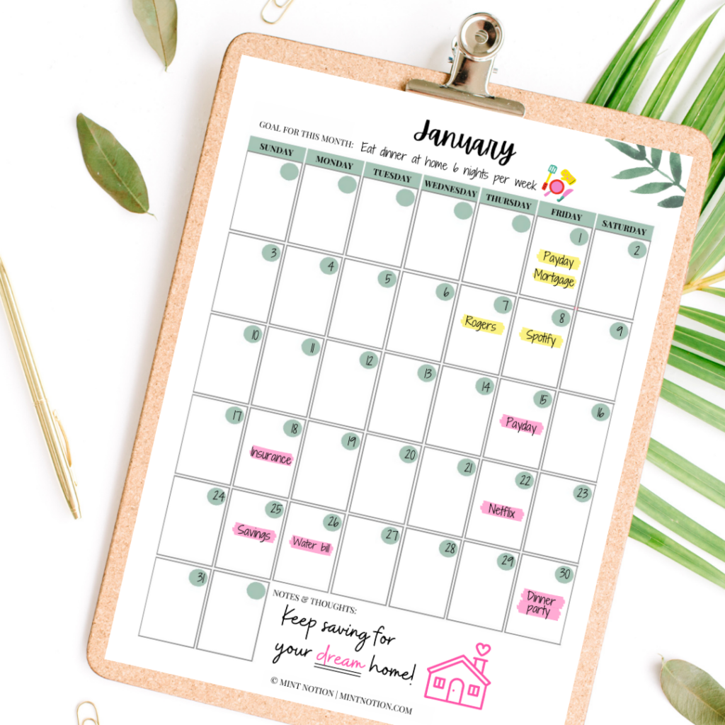 half payment method - budget calendar printable