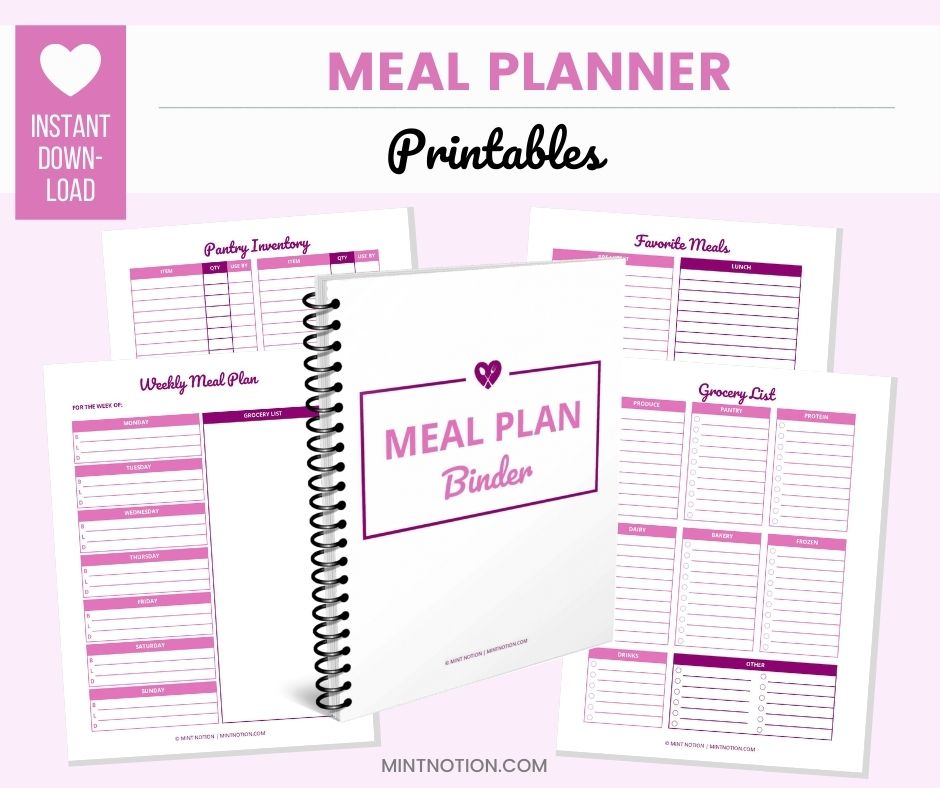 meal plan binder printables