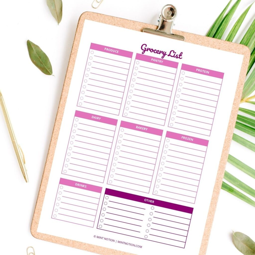 grocery list template printable