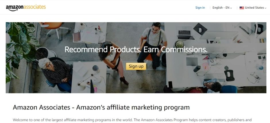 best affiliate marketing programs for beginners - amazon